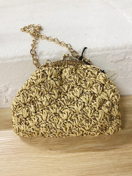 Caterina Bertini Small beige and gold bag - Made in Italy