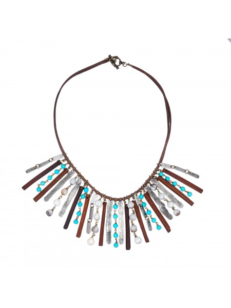 Organic Snare and Turquoise Necklace by Mulberry Mongoose