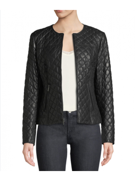 Leather quilted Jacket - Black size Small/med