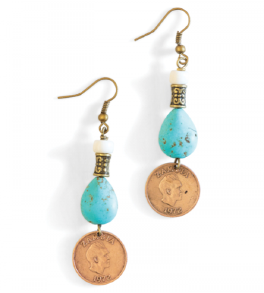TURQUOISE & BRONZE EARRINGS BY MULBERRY MONGOOSE