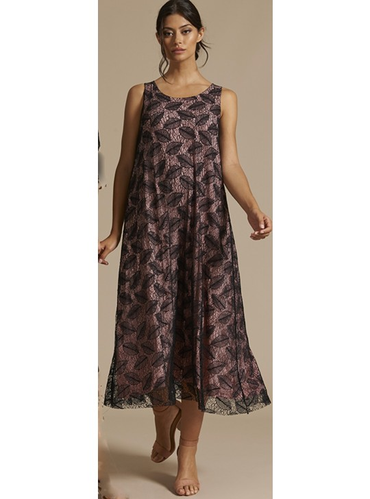 1376 Oscalito Lace Dress - Medium Pink/black lace on top