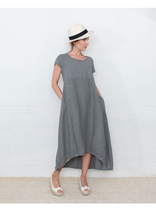 Linen Dress  - Grey  - Made in italy