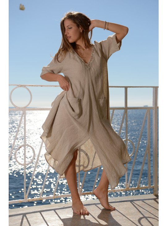 Noemi Dress in Linen by Mastro Moda - Positnao.
