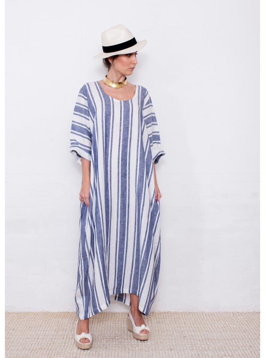 2685R Long Moroccan style dress in Lino