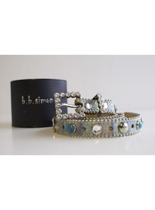 Italian Leather belt with Turquoise and Studs by B B Simon