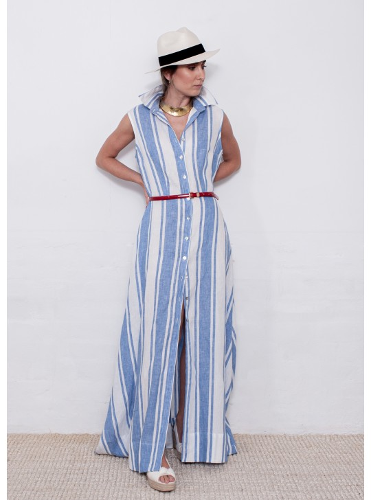 2637 Sartoria Saracena Long Maxi Linen Dress