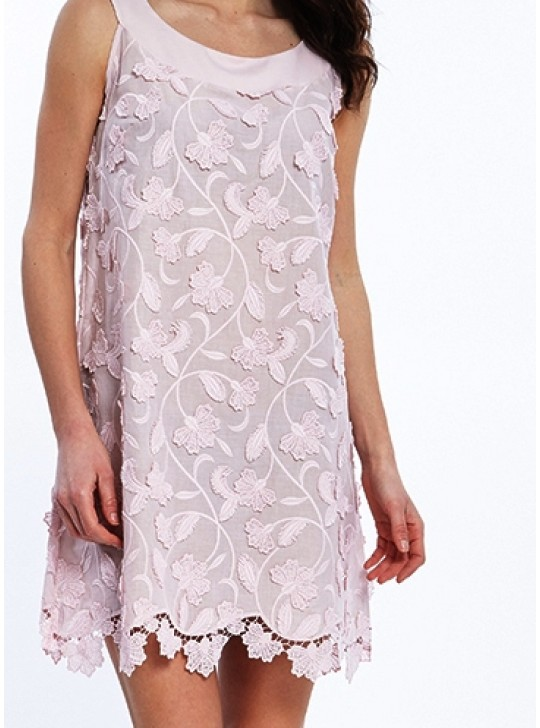 Oscalito 4912 Soft Pink Dress with soft floral macrame details  Medium