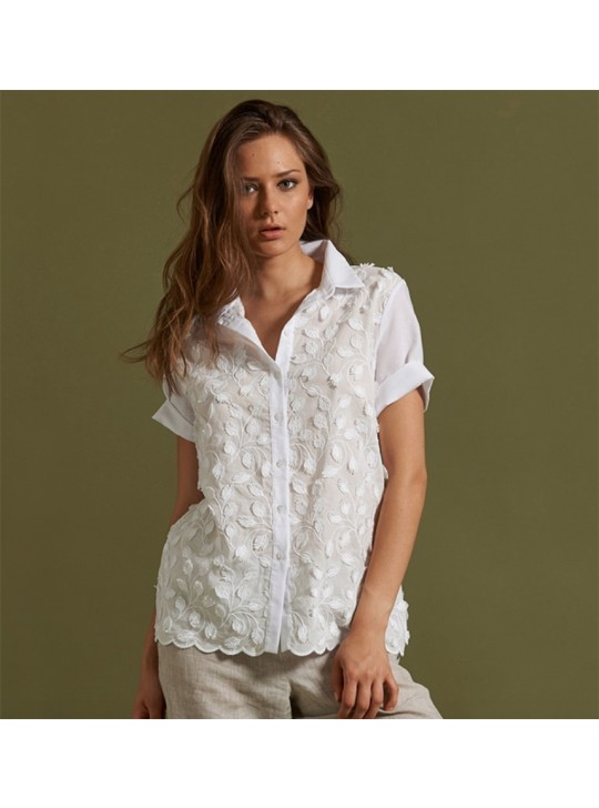 Oscalito 5718 White Cotton Shirt. short Sleeve. embroidery at front Medium