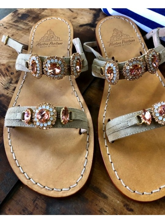 Italian hand made sandals - A04 Suede Beige Leather with Embelishment  Size 38