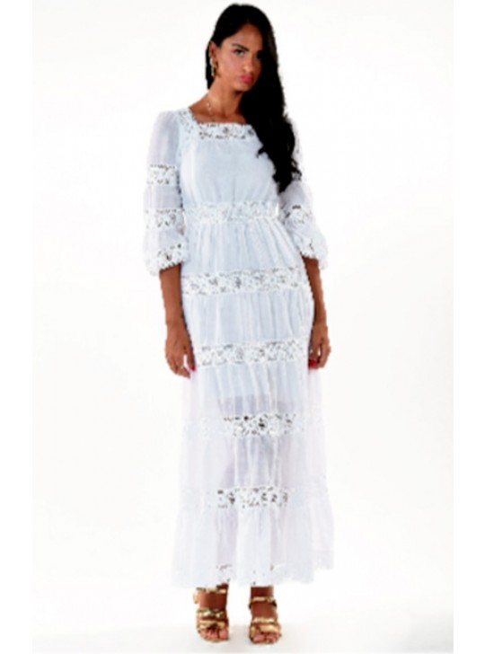 Maxi White Cotton and Lace Dress from Positano.  Medium size