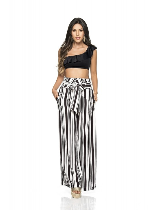 Black and White Wide Leg Pants - Phax - Pant Bota