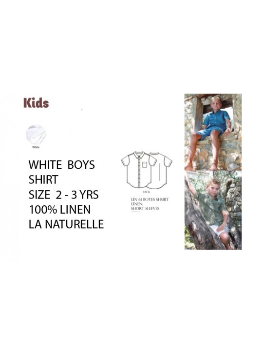 Boys White Shirt La Naturellle Linen  2 - 3 years.