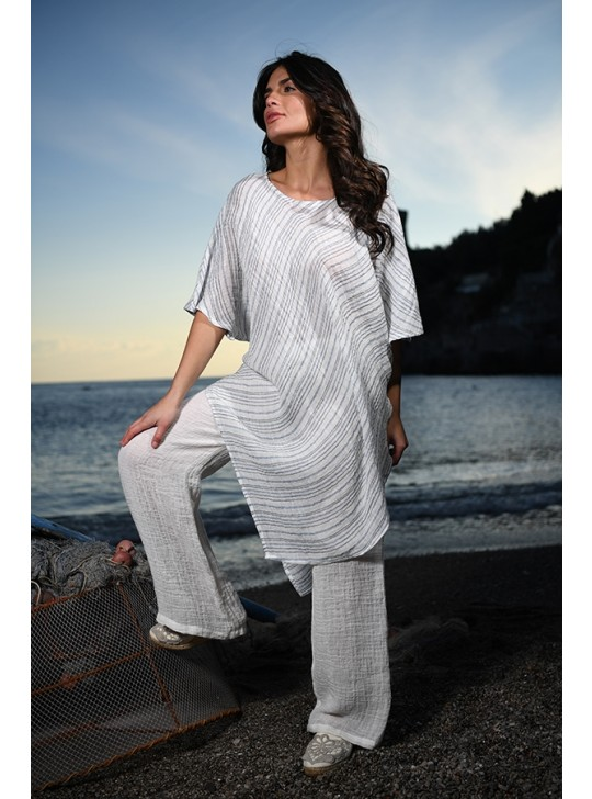 Casacca Rondine -Linen top Mastro Moda. blue and white stripe.