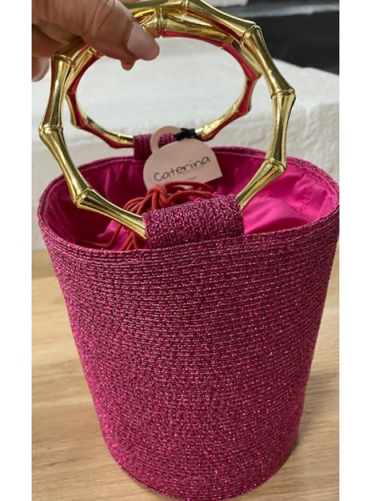 Caterina Bertini Pink Straw Bucket bag, with gold handles,