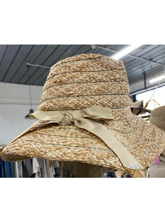 hand made hat CATERINA ITALY  - O/S #815  STRAW AND FABRIC
