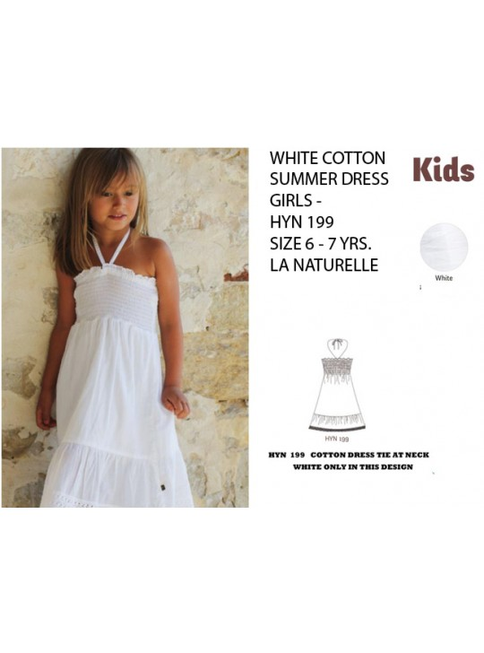 LA NATURLLE - Girls Cotton white summer dress. 6 - 7 years