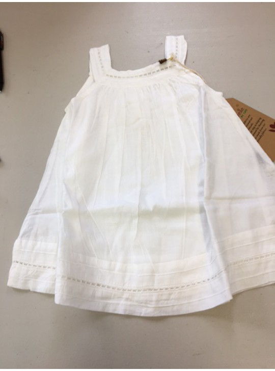 La Naturelle Baby girl white cotton dress