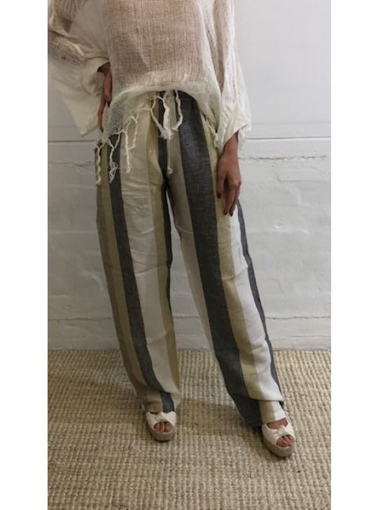 Stripe Linen pants - Gallio -Mastro Moda Positano - small, medium and large