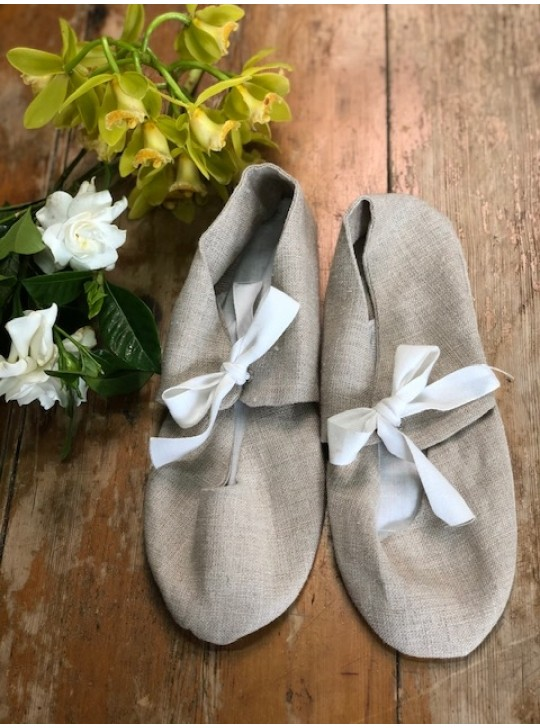 French Linen Bedroom Slippers