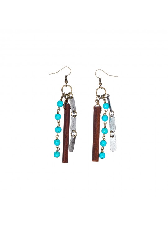 Snare earrings in turquoise, snare, wood by Mulberry Mongoose