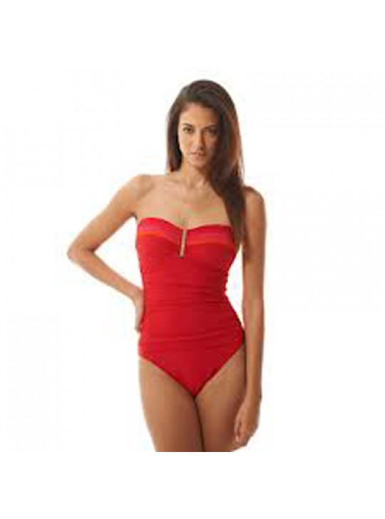 LA BLANCA  Mahalo My Diabolo Red Bandeau one piece swimsuit