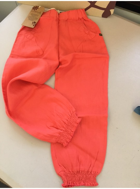 La Naturelle - girls Linen pants - Coral  mixed sizes