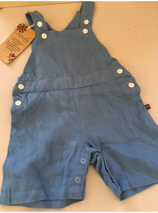 BABIES - Boys Blue Playsuit in Linen by La Naturelle
