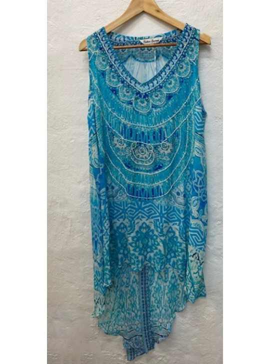 Silk High/Low Dress Kaftan Aqua Medium/Large