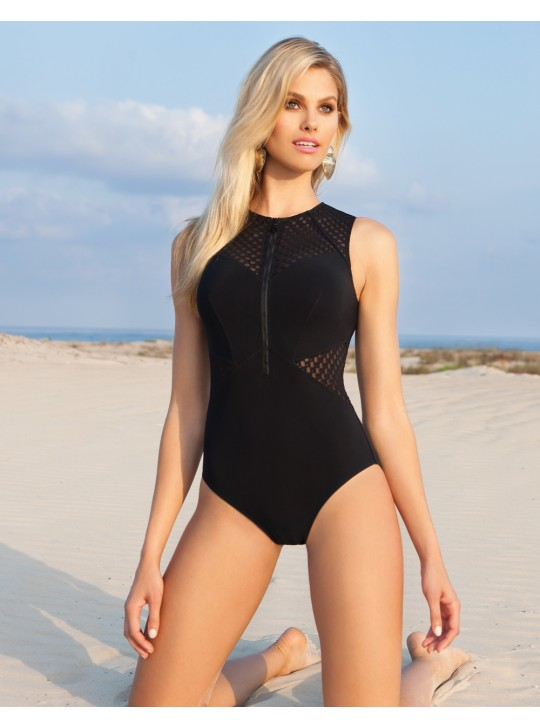 Profile  Monte Carlo Black high neck one piece.