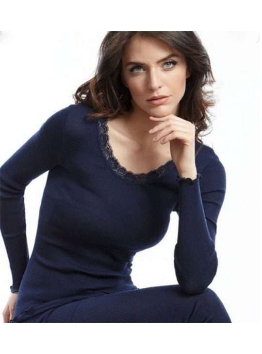 Oscalito 3416 - Wool and silk Fine Rib Top  - Navy - Small