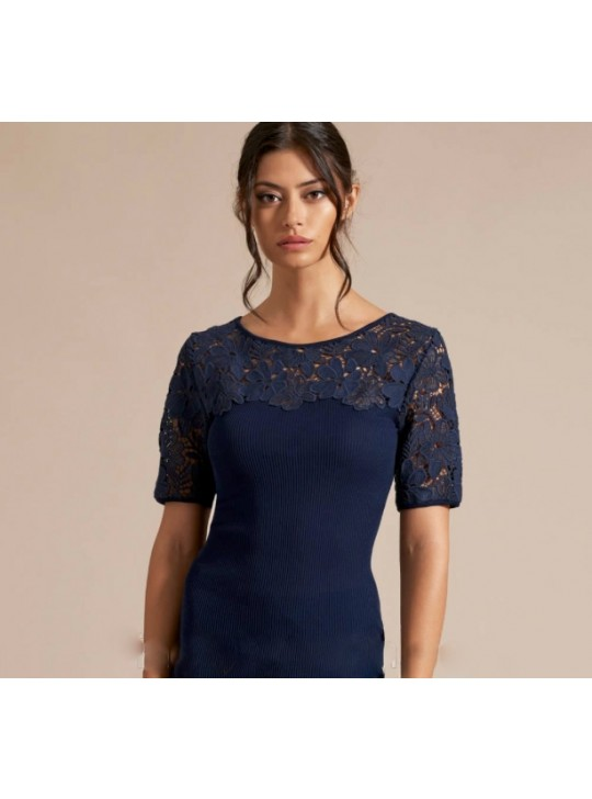 Oscalito 5756 Navy top - cotton Lace details - Small