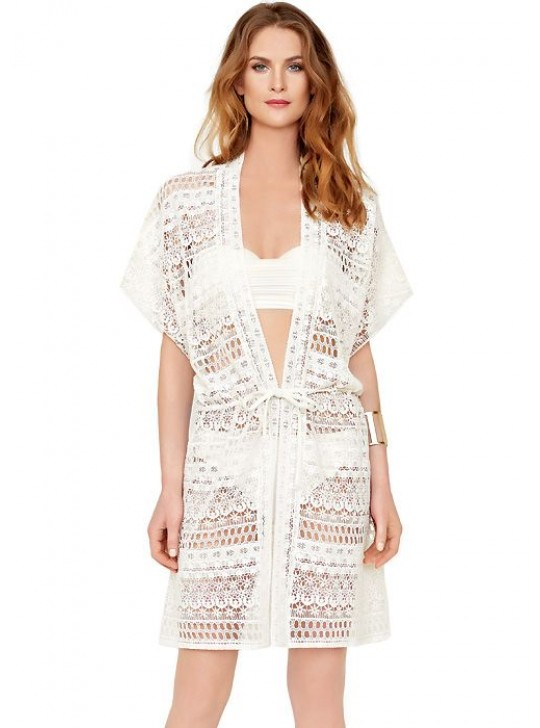 Gottex Pearl Goddess Open Crochet Kimono with belt - ivory