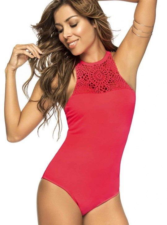 Phax Lazer cut high neck neon red one piece swimsuit.  Medium