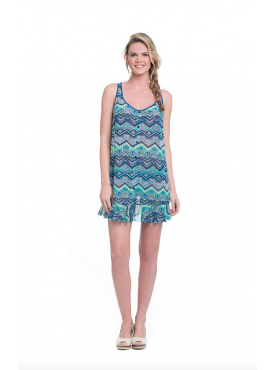 Profile Blush - African Zigzac tunic cover up in blues. Size Small