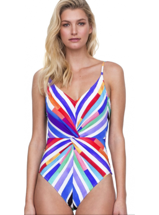 Gottex V neck one piece swimsuit multi coloured we have US8, 10,12 and 14 - UK and Australian size is 12,14,16