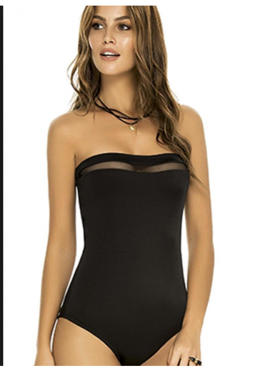 Phax Bandeau Black with see thru panels one piece swimsuit