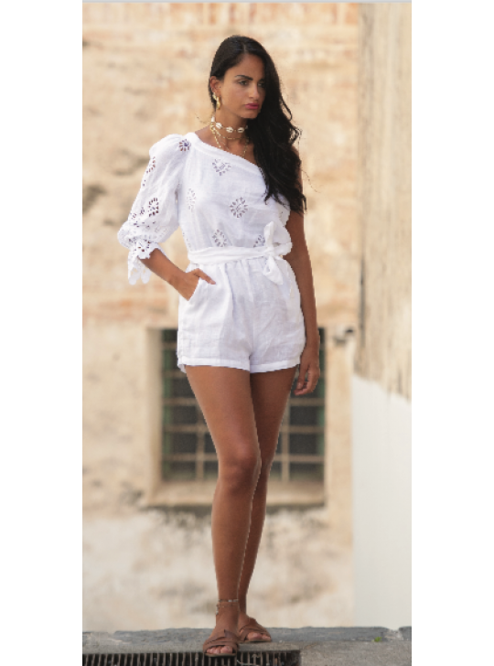 Queen Moda ROMPER ingrid - Italian made 100% linen and lace