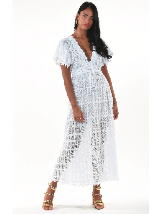 Queen Moda - white Lace/crochet maxi dress - Abito Prisca  Medium