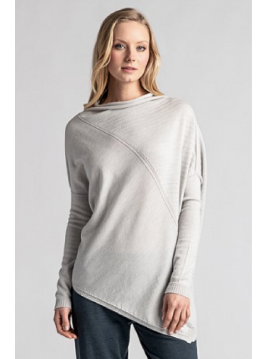 1892 Asymmetric Sweater in Light Silver Medium
