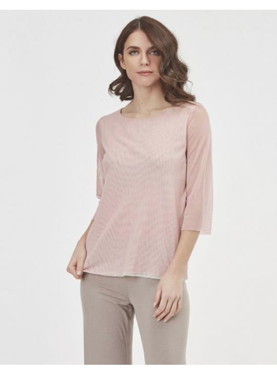 Oscalito # 4932 - 3/4 Sleeve top Small/Med in soft pink with ecru underlay