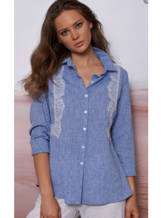 Oscalito 5780M Cotton/linen Shirt in Blue with lace details  Medium
