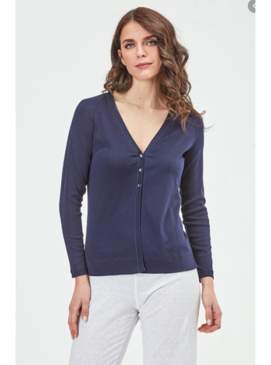 Oscalito 3183 Cardigan - Blue/Navy Cotton - Small