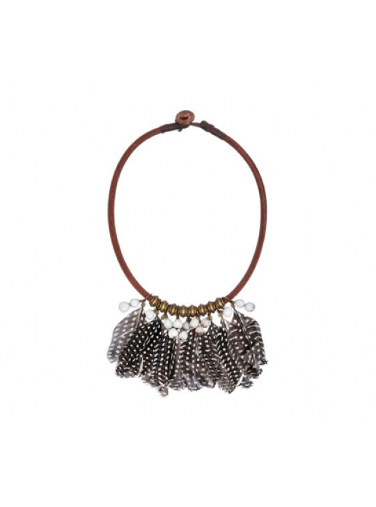 Guinea Fowl Feather Choker from Mulberry Mongoose
