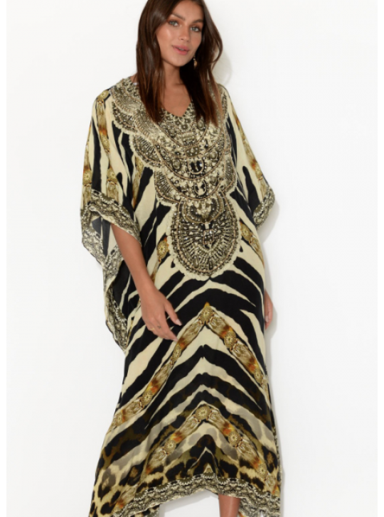 Jungle print Maxi Kaftan in 100% silk