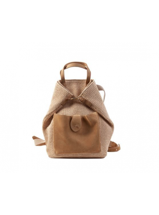 Caterina Bertini Ilaria Straw Backpack with calf Leather pocket.