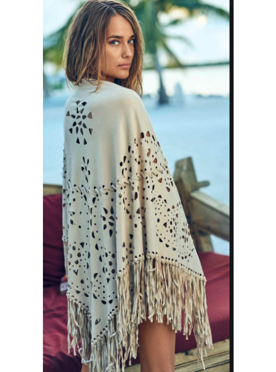 PilyQ Suede Poncho - Sage One size