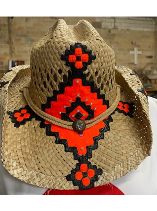 Cowboy style hand made hat from Greece  - hand painted. O/s