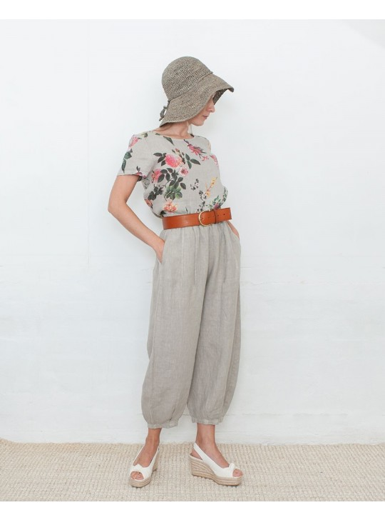 V017 Wide leg 3/4 pants - Made in italy - 100% Lino (Ottolino)