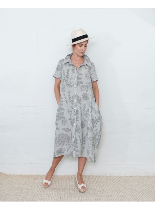 ItalianLinen Dress in Light Grey  - Large