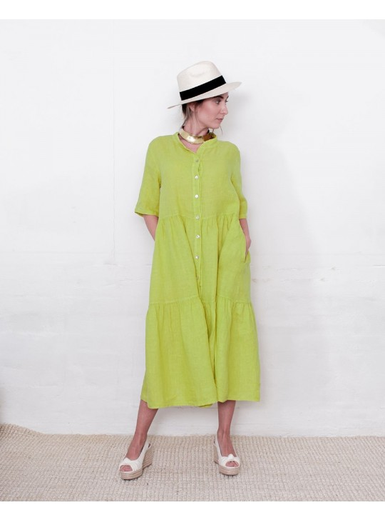 V025 LIME LINEN DRESS - MADE IN ITALY